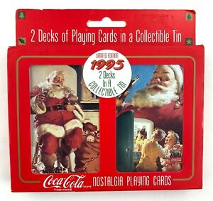 Vintage Coca-Cola Playing Cards 2 Decks Collectable Tin 1995 Limited Edition New
