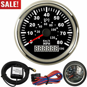 85mm Gps Speedometers 0 130km H Speed Gauges 0 80mph With Antenna For Auto Boat