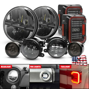 For Jeep Wrangler 07 17 Tail Light 7 Led Headlight Fog Light Turn Signal Kit8pc