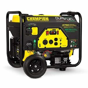 Champion Portable Generator Dual Fuel 4750 3800 watt Rv Ready Electric Start