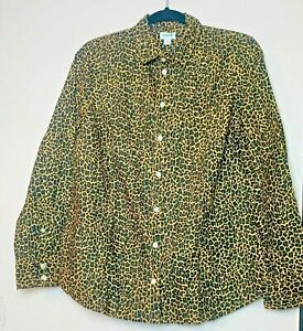 J Crew Button up Leopard Poplin Shirt Size M Perfect Fit Ad361 Free Shipping