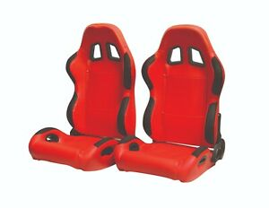 Cipher Auto Red Leatherette Universal Racing Seats W Seatbelt Bezels Pair New