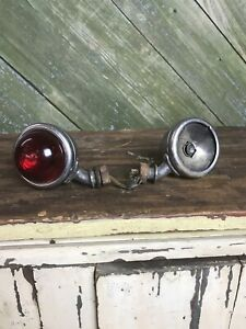 Vintage Do Ray Chrome Red Glass Motorcycle Brake Tail Light Lamp Old Harley Etc