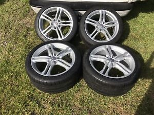 18 19 Corvette C7 Stingray Silver Michelin Wheels Tires Factory Oem