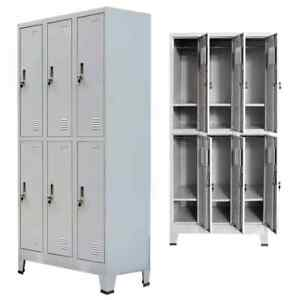 Locker Storage Cabinet 6 Door Office School Gym Dress Wardrobe Organizer Mirror