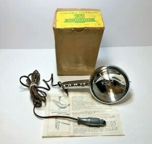 Vintage Gm Chrome Portable Hand Spot Light In Original Box Part No 987112