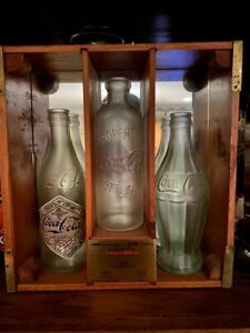 Coca-Cola 100 year limited edition bottle set in wood case with plaque