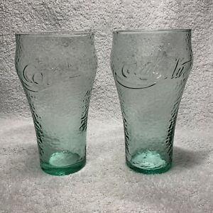 Coca-Cola Vintage Green Pebble-Glass Set Of 2 ~ 16oz Glasses Coke USA
