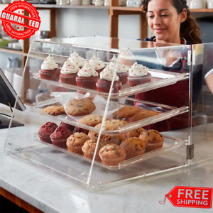 3 Tray Bakery Clear Acrylic Pastry Pastries Display Case Cafe Hotel Counter Food