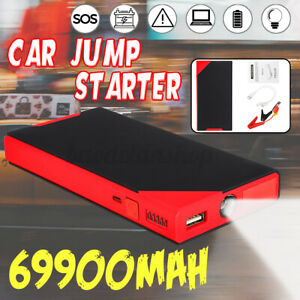 69900mah 12v Portable Car Jump Starter Power Bank Booster Clamp Usb Charger 300a