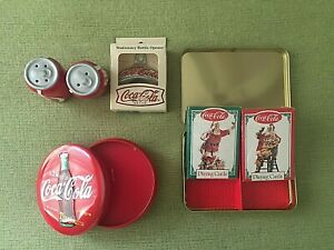 COCA COLA COLLECTIBLES  FOUR ITEMS - cards  candle  S&P  bottle opener