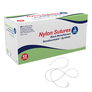 Nylon Sutures non Absorbable Synthetic Black 6 0 C3 Needle L 18 12 box