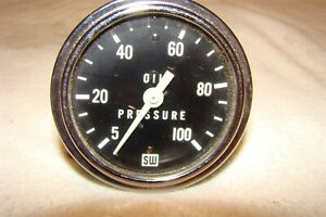 Sw Vintage L Arge 2 1 2 Mechanical Oil Gauge New