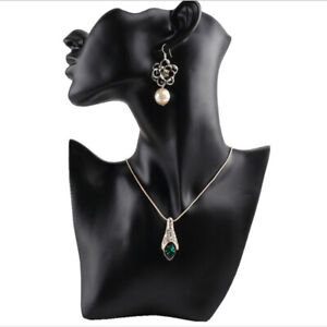Female Pendant Show Jewelry Head Mannequin Bust Display Resin Material Black