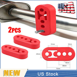 2 Car Rubber Exhaust Tail Pipe Mount Brackets Hanger Insulator 4 Holes Universal