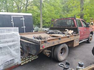 Used Steel 9ft Flatbed With Gooseneck And Tool Boxes 1ton Ford Chevy Dodge Cab