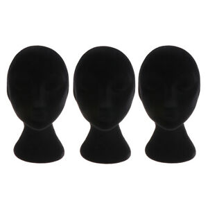 3 Pack Foam Female Mannequin Head Model Wig Glasses Hat Display Stand Black