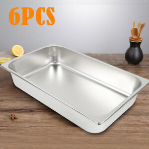 Full Size Steam Table Hotel Buffet Pans 4 Deep 6 Pack Anti jam Stainless