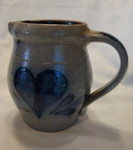 Rowe Pottery Small Pitcher Creamer salt glazed with blue heart 1991