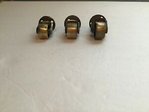 Vtg swivel Furniture Casters W steel Stem Brass Wheel lot Of 3 different Size