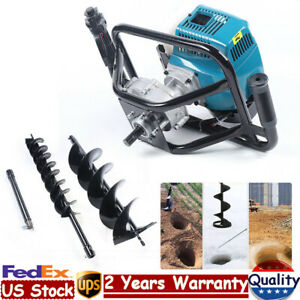 52cc Gas Powered Post Hole Digger Earth Auger Borer Fence Ground 4 8 Drill Bit