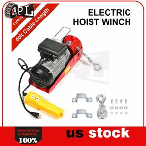 1100lbs 110v Electric Cable Hoist Crane Lift Garage Auto Shop Winch W Remote