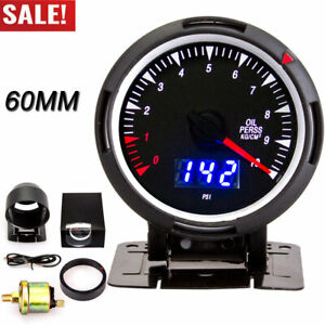 60mm Car Digital Oil Pressure Gauge For Auto Motorcycle 0 10 Bar Psi With Sensor