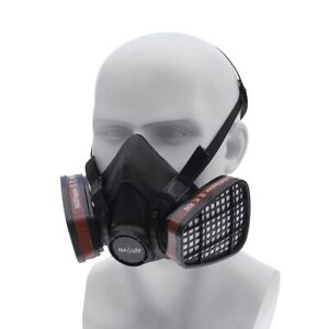 Double Gas Mask Protection Filter Chemical Half Face Respirator Mask