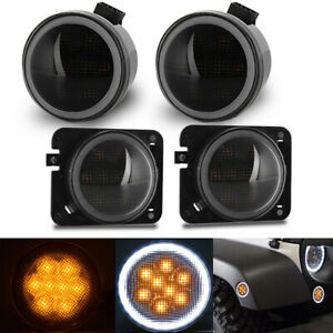 Led Turn Signal Side Marker Fender Light Drl Halo For Jeep Wrangler Jk 07 15 Us
