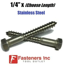 1 4 Stainless Steel Lag Screws Hex Head Lag Bolts Select Length Pkg Qty