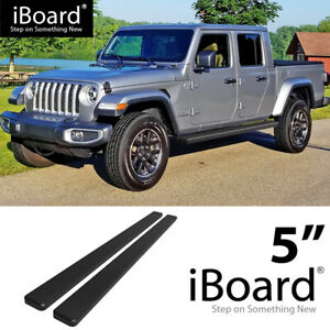 Running Board Side Step 5in Aluminum Black Fit Jeep Gladiator Crew Cab 20 21