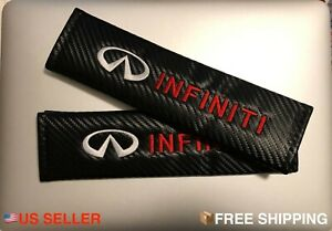 2x Black Carbon Fiber Seat Belt Cover Shoulder Pads For Infiniti G35 G37 Q50 Q60