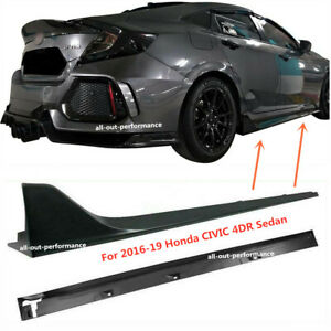 Side Skirt Extension For 2016 19 Honda Civic 4dr Sedan Lx Ex Si Blk Type R Style