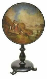 Antique Table tilt top English Scenic Painted Lacquered 19th Century 1800s