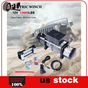 1x Electric Winch Steel Cable 12v Truck Trailer Tow 4wd Off Road 1pcs 12000lb