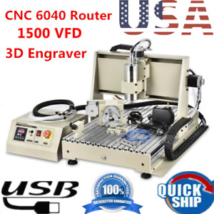 Usb 1 5kw 4 Axis Cnc 6040 Router 3d Cutter Engraver Metal Engraving Mill Machine