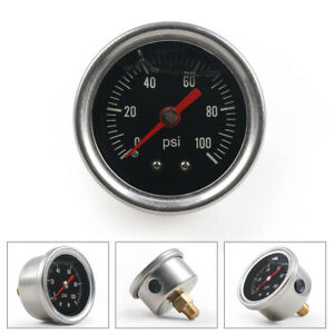 Fuel Pressure Press Gauge Regulator 0 100 Psi Liquid Filled Chrome Fuel 1 8 Npt