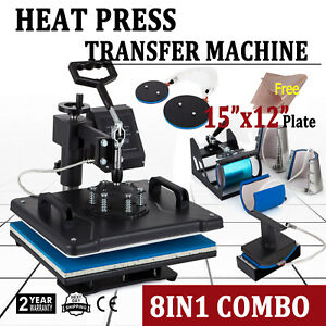 8in1 Combo Heat Press Machine 15 x12 Sublimation Transfer T shirt Mug Plate Hat