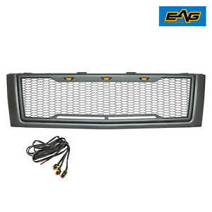 Eag Fit 07 10 Chevy Silverado 3500 Heavy Duty Grille Black Packaged Led Upper