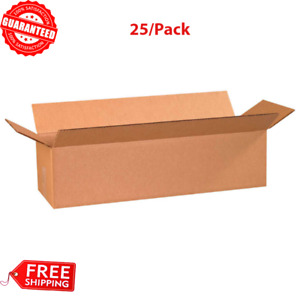 25 pack 24 X 8 X 6 Long Cardboard Corrugated Shipping Box 65 Lbs Capacity