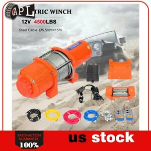 1x Electric Winch Steel Cable 12v Truck Trailer Tow 4wd Off Road 4500lb 1pcs
