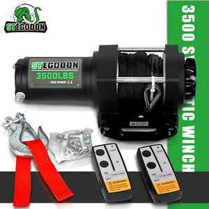 Stegodon Electric Winch 3500lbs 12v Synthetic Rope W Wireless Remote Atv utv