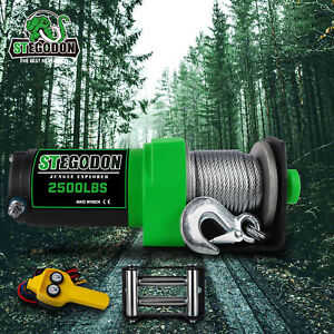 Stegodon Electric Winch 2000lbs 12v Dc Steel Cable W Remote Atv Utv Off Road