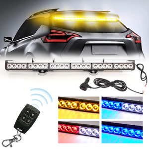 Led Emergency Strobe Light Bar Amber Flash Warning Wireless Remote Yellow 27