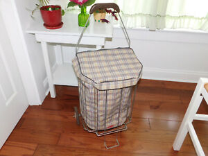Vintage Metal Wire Shopping Grocery Laundry Cart Basket On Wheels Folds W Liner