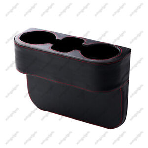 New Car Seat Storage Box Cup Drink Holder Leather Auto Organizer Gap Pocket