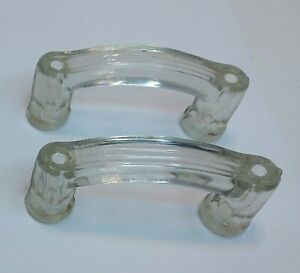 Crystal Glass Drawer Knobs Pulls Handles Two 41 8 X1 5 8 X7 8 Vintage Antique