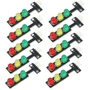 10pc 5v Mini Traffic Light Red Yellow Green 5mm 3 Led Display Module For Arduino
