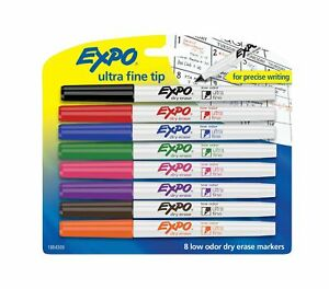 Expo 1884309 Low odor Dry Erase Markers Ultra Fine Tip Assorted Colors 8 c