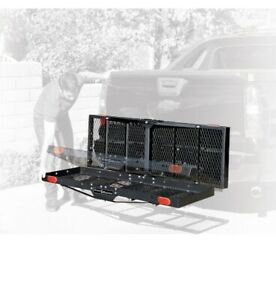 Folding Rack Cargo Basket Trailer Hitch Mount Luggage Carrier For Car Suv 750lbs